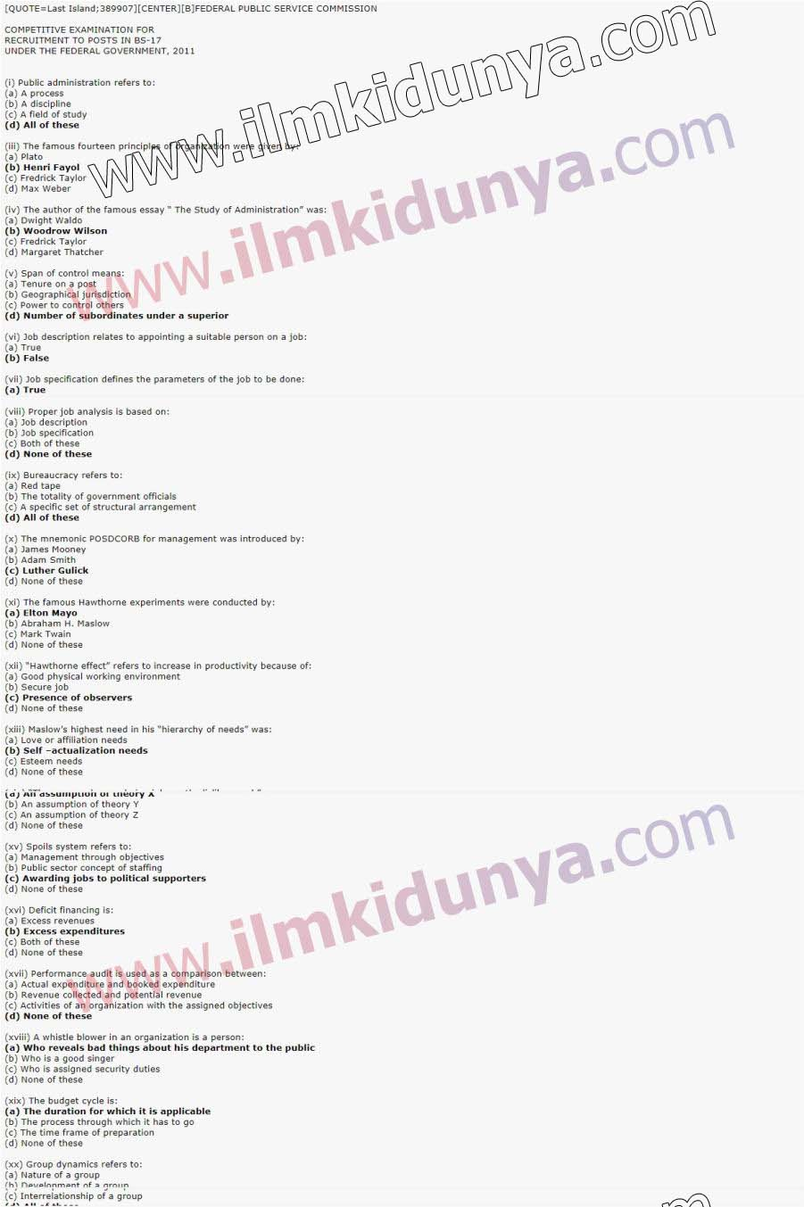 CSS Past Papers 2011 Public Administration Paper 2