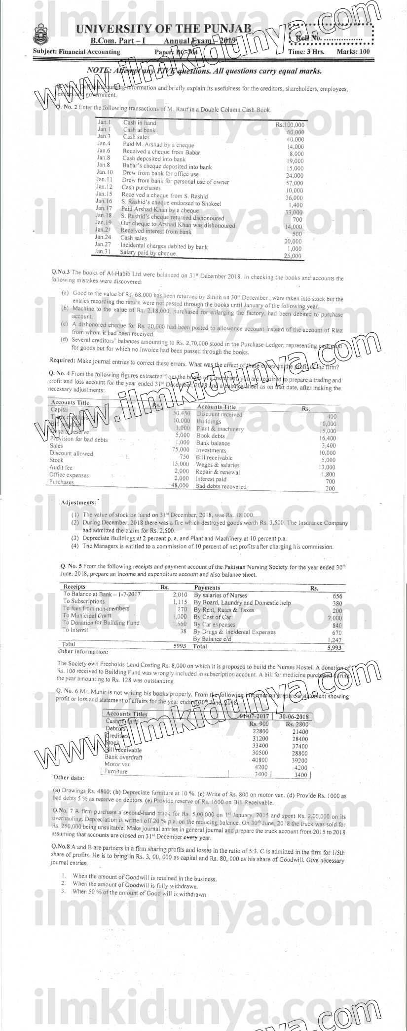 Past Paper 2019 Punjab University B.Com Part 1 Financial