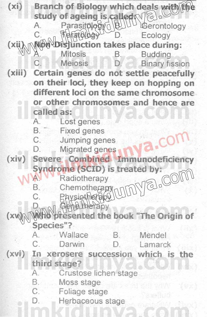 Past Papers 2017 Federal Board Inter Part 2 Biology