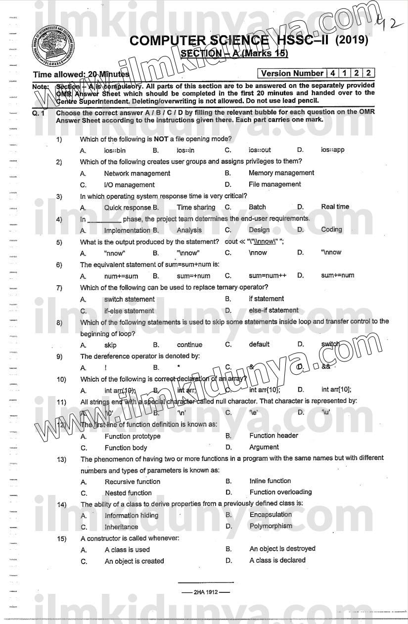 Past Paper 2019 Federal Board HSSC Inter Part 2 Computer