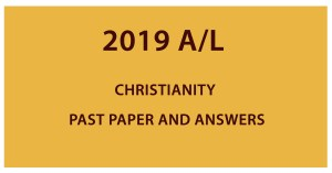 2019 A/L Christianity past paper and answers