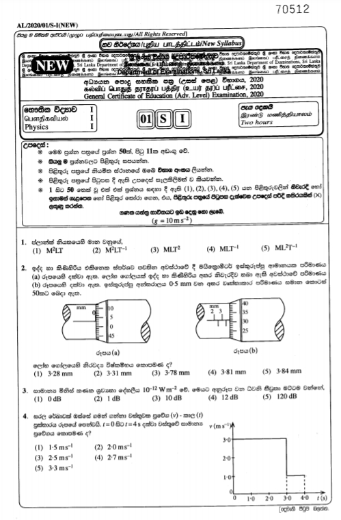 Advanced Level Physics Past Papers and Answers 2020