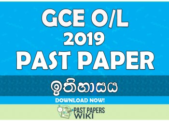 2019 O/L History Past Paper | Sinhala Medium