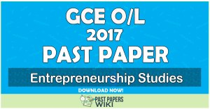 2017 O/L Entrepreneurship Studies Past Paper | English Medium