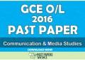 2016 O/L Communication & Media Studies Past Paper | Tamil Medium
