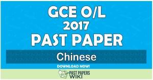 2017 O/L Chinese Past Paper | English Medium