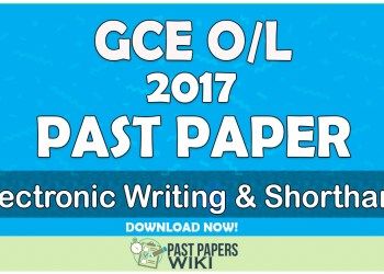 2017 O/L Electronic Writing & Shorthand Past Paper | Tamil Medium