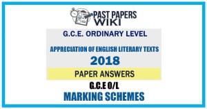 2018 O/L Appreciation of English Literary Texts Marking Scheme | English Medium