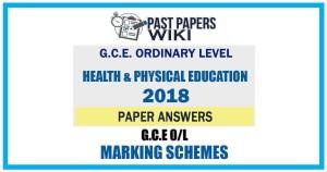 2018 O/L Health & physical Education Marking Scheme   English Medium