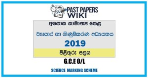 2019 O/L Business & Accounting Studies Marking Scheme | Sinhala Medium