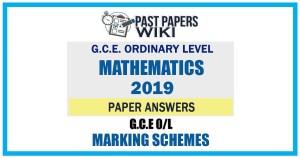 2019 O/L Mathematics Marking Scheme   English Medium