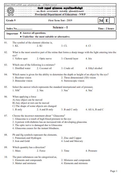 Grade 09 Science 1st Term Test Paper 2019 English Medium – North Western Province
