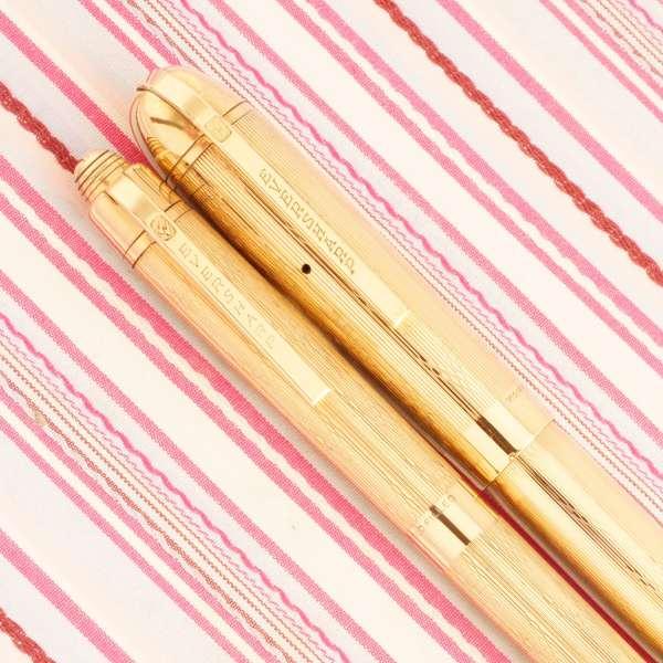 vintage wahl eversharp skyline gold award chevron derby deluxe senior fountain pen pencil box set