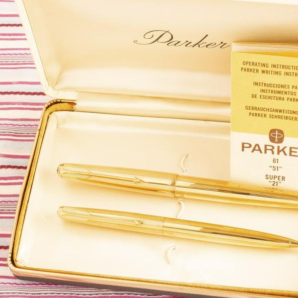 vintage parker 61 gold SIGNET INSIGNIA fountain pen pencil box set new old stock