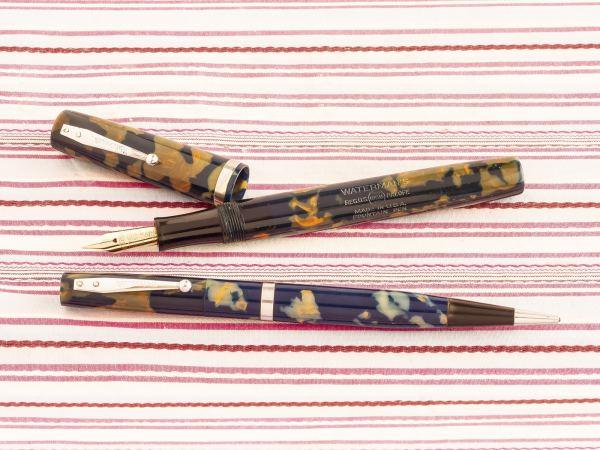 vintage waterman 32 blue orange mosaic fountain pen pencil box set