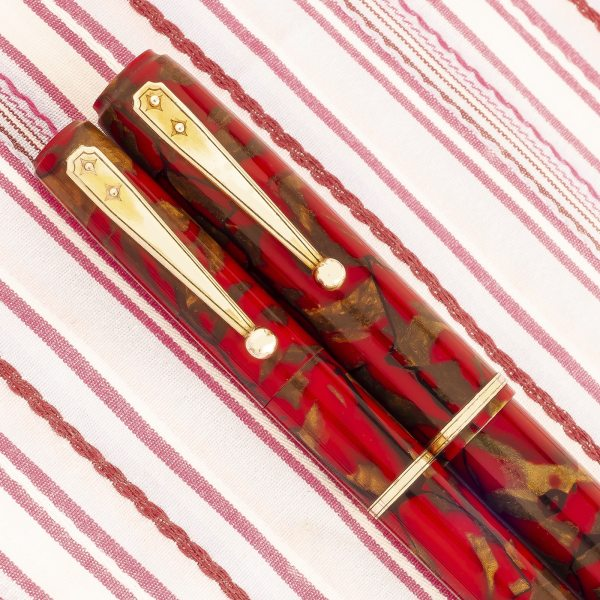 vintage waterman Ideal 92 red gold marble fountain pen pencil set