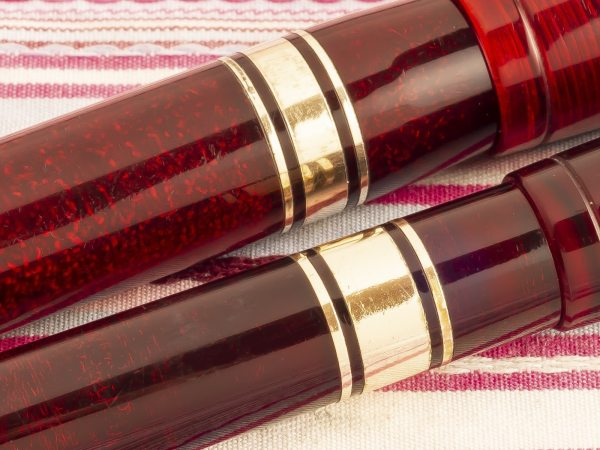 vintage waterman ideal hundred 100 year red jewel lucite fountain pen pencil set
