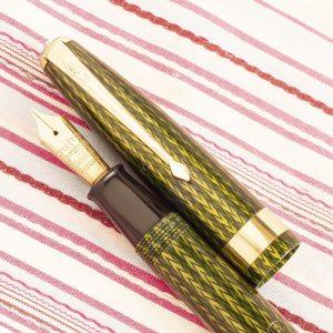 vintage english conway stewart 60L green herringbone duro deluxe executive fountain pen
