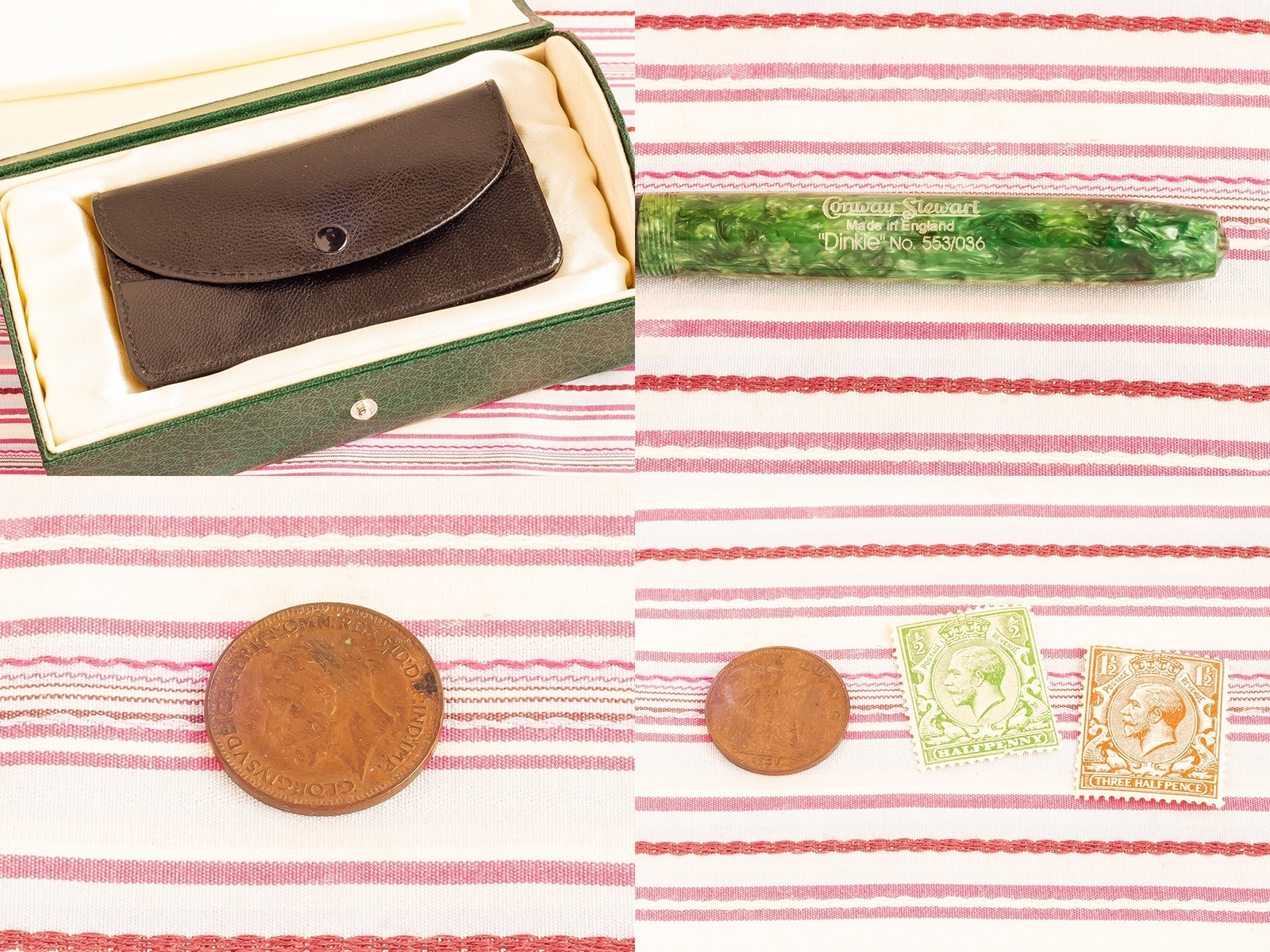 modern vintage conway stewart dinkie forest green 18kt gold filled leather pouch KGV king george V coins stamps fountain pen gift box set