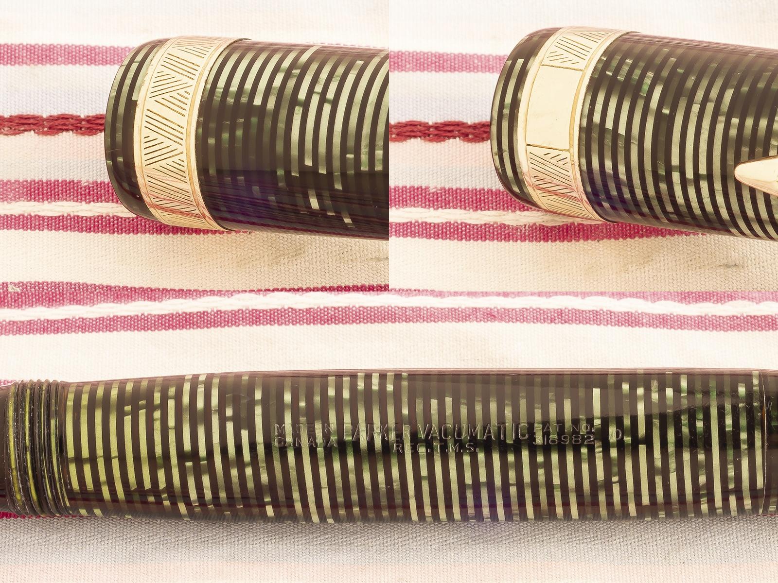 vintage parker vacumatic maxima senior green pearl striped amber semi-transparent marble broad gold chevron capband double jewel speedline filler fountain pen