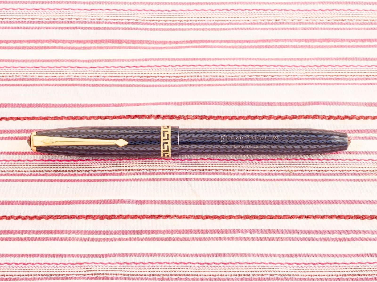 vintage conway stewart 74 blue herringbone grecian fountain pen