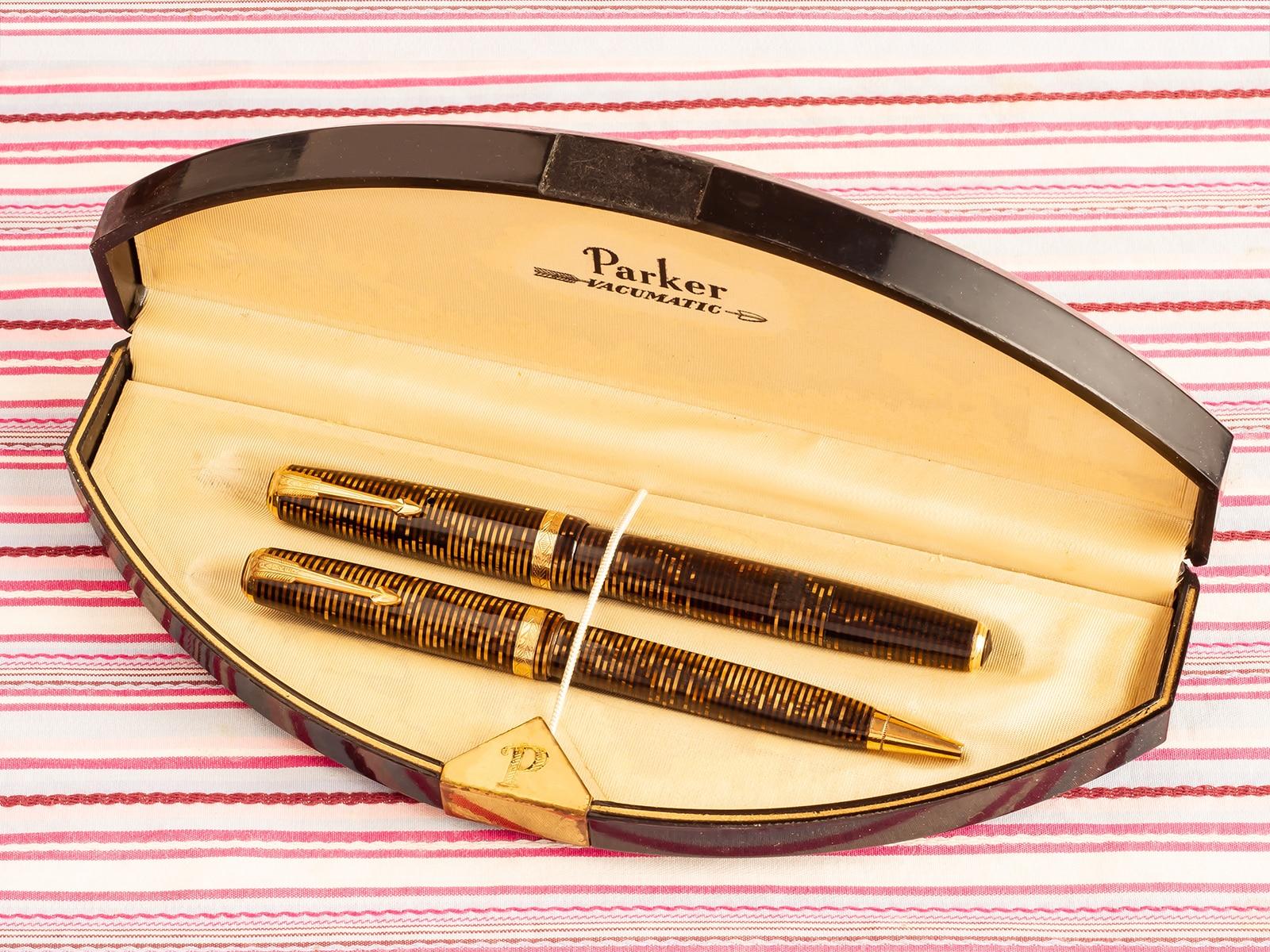 Vintage Parker Vacumatic Star-clip Golden tiger eye striped fountain pen pencil box set