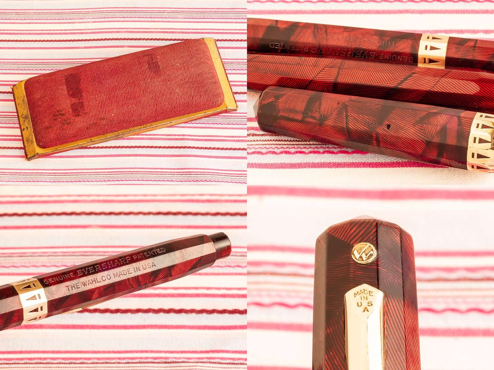 vintage wahl eversharp doric red facet art-deco double-tick emblem fountain pen pencil box set
