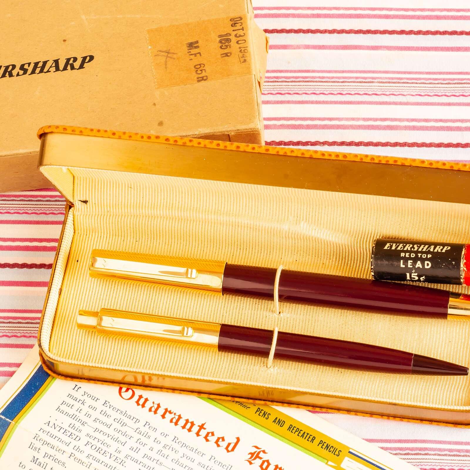 vintage wahl eversharp Fifth Avenue Sixty Four 64 solid gold cap Dubonnet Red double tick emblem fountain pen pencil box set guarantee paper