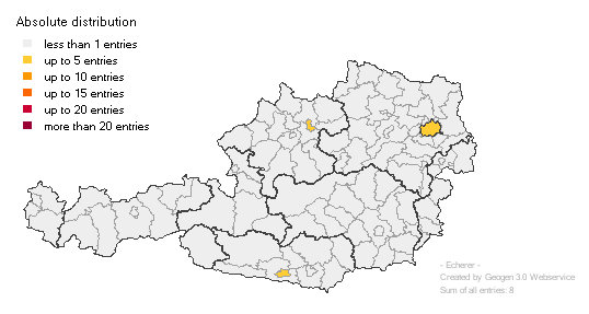 Distribution of the ECHERER surname in Austria.
