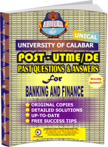 UNICAL Past UTME Questions for BANKING AND FINANCE
