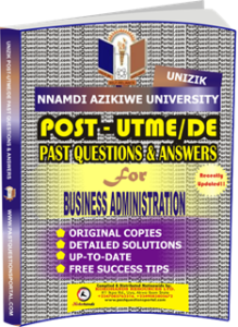 UNIZIK Past UTME Questions for BUSINESS ADMINISTRATION