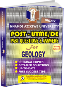 UNIZIK Past UTME Questions for GEOLOGY