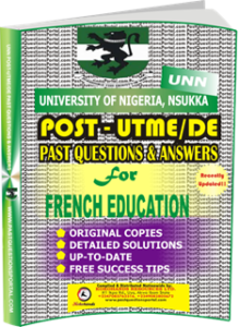 UNN Past UTME Questions for FRENCH EDUCATION