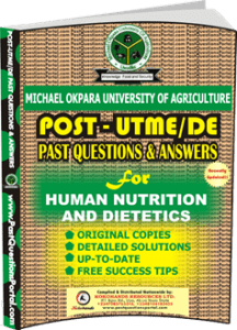 MOUAU Post UTME Past Question for Human Nutrition and Dietetics