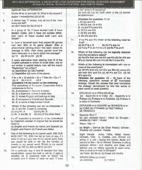 Delta State University DELSU Post UTME Past Questions and Answers