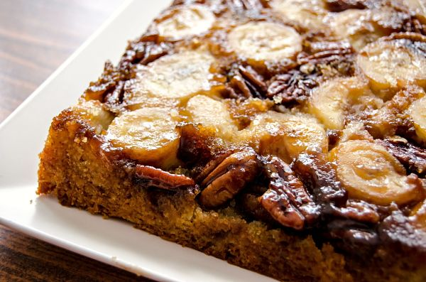 upside down banana pecan cake