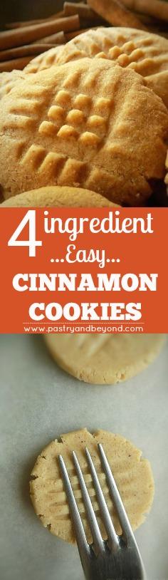 4 Ingredient Easy Cinnamon Cookies #easycinnamoncookies #cinnamon cookies #shortbreadcookies #cinnamonshortbread