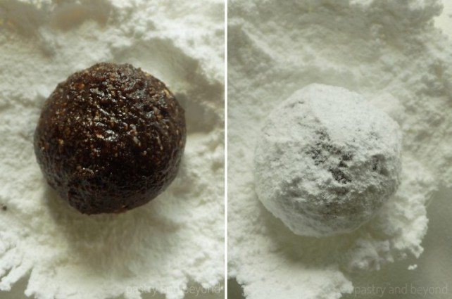 Rolling out the flourless cookie dough into a ball and covering with powdered sugar.