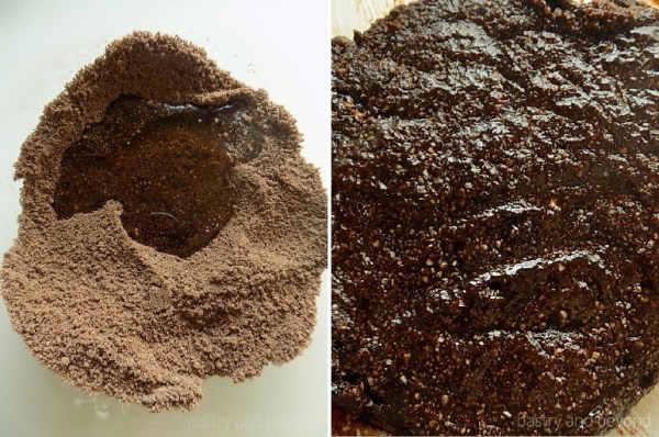 Steps of Making Flourless Hazelnut Cocoa Cookies: Adding the egg white to the dry mixture