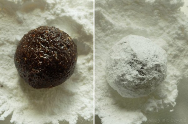Steps of Making Flourless Hazelnut Cocoa Cookies: Rolling out the dough into balls and covering them with powdered sugar.