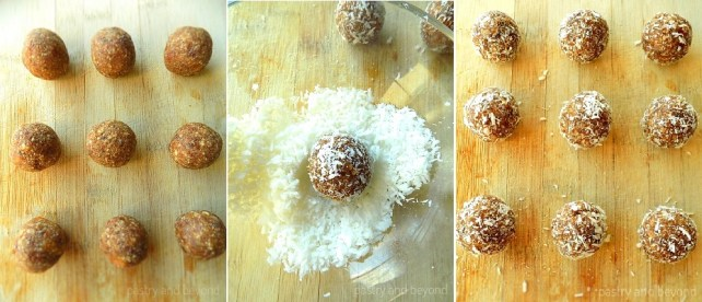 Rolling the dough into balls and covering the balls with unsweetened shredded coconut.
