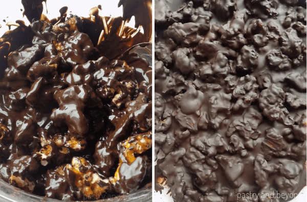 Caramelized walnuts are added into melted chocolate in the first picture, chocolate covered candied walnuts are spread on a parchment paper.