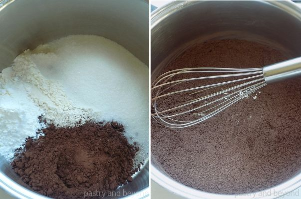 Mixing cocoa powder, sugar, flour and cornstarch with a whisk in a medium pan.