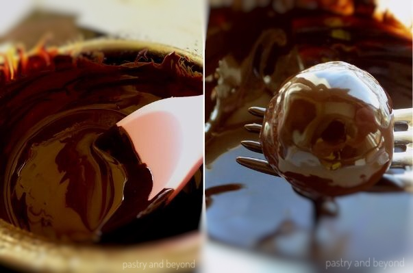 Chocolate covered fig and walnut ball on a fork
