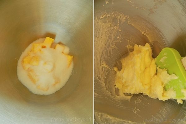 Butter and sugar in a mixer before and after mixed.