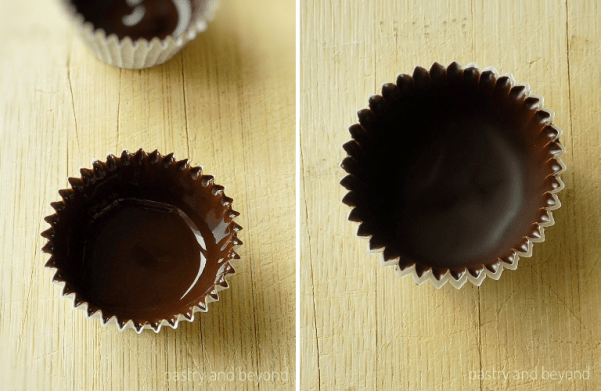 Chocolate cup before set in the first picture, chocolate cup after set in the second picture.