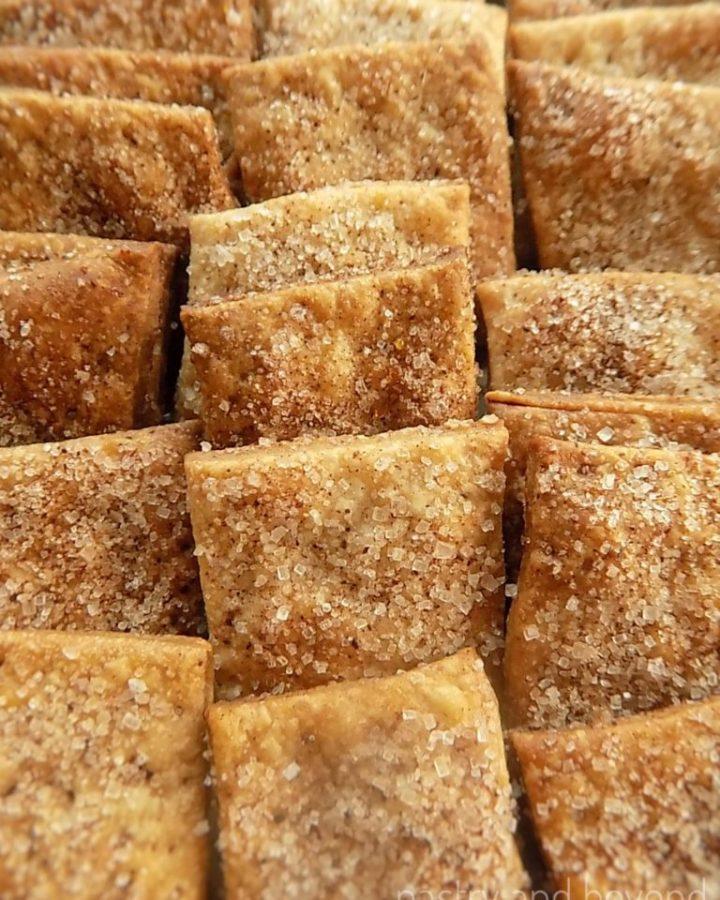 Cinnamon sugar crackers in a row.