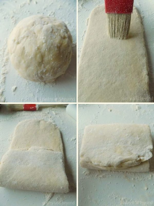 Steps of Making Quick Puff Pastry: Rolling out the dough and folding.