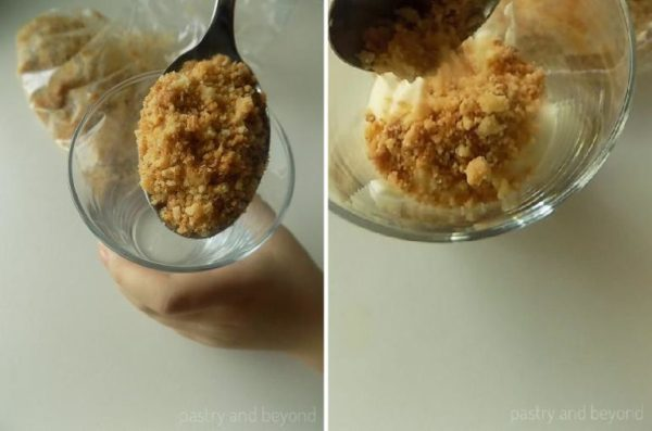 Placing crushed cookies and lemon curd mousse into the serving glass.