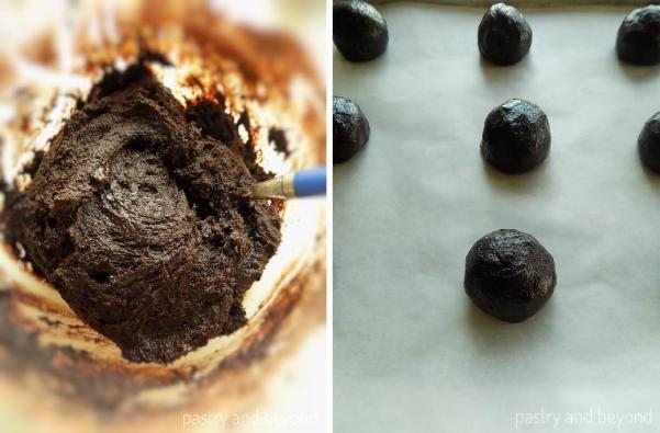 Steps of Making Moist Chocolate Cookies: Making balls out of the dough.